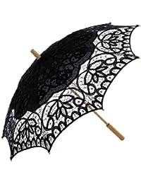 Topwedding ombrelle de mariage en coton avec des dentelles et poignee longue en bois,noir