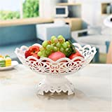 SHOUNALANX Obstkorb Obstschale Multifuncti Transparenton Süßigkeiten Schachtelplatte Europäische Art Fruchtschale Weiß, Golden