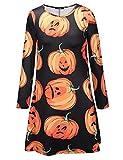 SIMYJOY Damen Halloween Langarm Kittel Flared Skater Kleid Swing Kleid für Party Cocktail Kostüm und Parade Schwarzer
