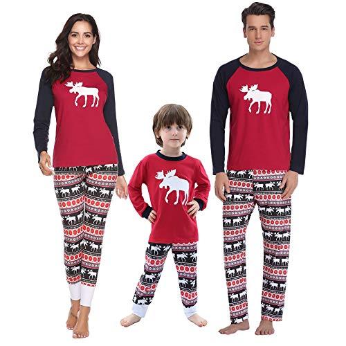 Aibrou Herren Weihnachten Schlafanzug Pyjama Set Lang Nachthemd Nachtwäsche Hausanzug mit Davidshirsch Vater XXL