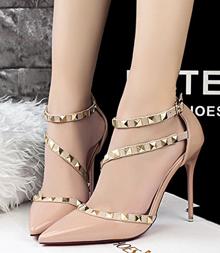 Minetom Summer Heeled Chaussures Femme Court Party Chaussures Rivets Tournants Pointu Toe Shallow Mouth Mince Talons Haute Pompe Sandales À Talons Haut Abricot