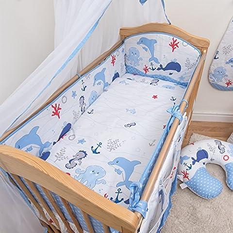3 Pcs Nursery Bedding Set , All-round Bumper (Fits Cot Bed 140x70 cm, Pattern 15