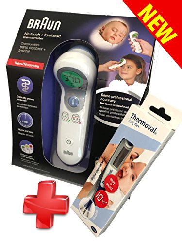 BRAUN Termometro 2 in 1 - Senza Contatto + Frontale * NO-TOUCH * FRONTALE + Thermoval rapid flex Termometro clinico digitale