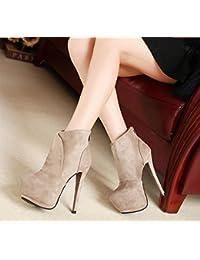 Retro sexy en Europe et en Amérique 14cm avec bien avec les bottes de bottes imperméables femmes, gris 37