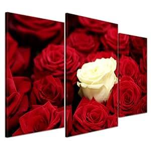 """Bilderdepot24 Immagine su tela """"bianco rosa"""" - 100x60 cm 3 pezzi - incorniciato direttamente dal produttore, intelaiata e pronta da appendere"""