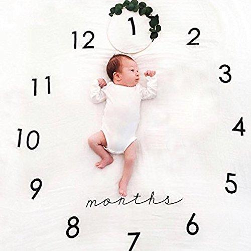 Neugeborenes Baby-Meilenstein-Decke, Baby-Geburtstags-Fotografie-Foto-Stützen Swaddle-Decke, Oenbopo-Baby-monatliche Meilenstein-Fotografie Stützen schießt Kulisse Tuch 39.38 \'\' X39.38 \'\'