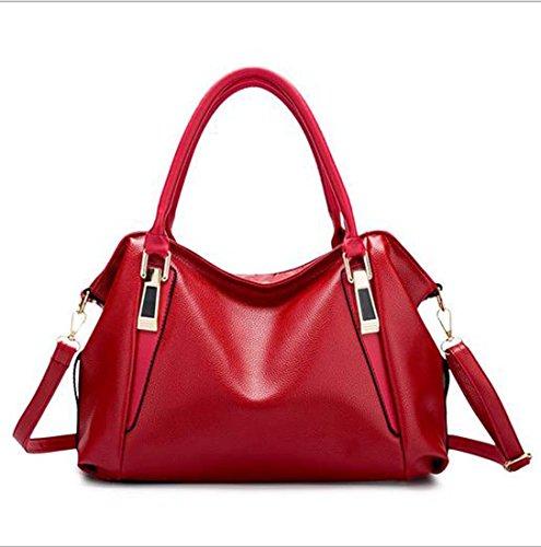 Frauen große Umhängetasche Schwarz PU Kunstleder rosa braun rot rosa Umhängetasche Handtasche Schultertasche Volltonfarbe ( Color : 4 ) (Leuchtend Rosa Wickeltasche)