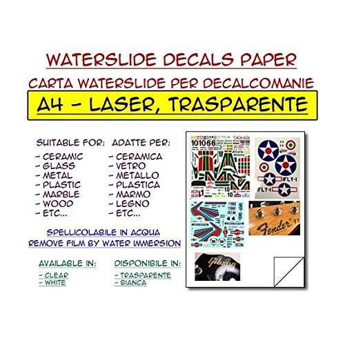 DIYPedalGearParts  5 x carta waterslide trasparente per stampante laser, decalcomanie, stomp box, pedal effect