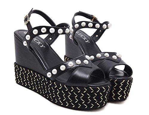 L&Y Donne Aprire le dita dei pattini Sandali spessi Sand Sandali Piattaforma Boot Table Bead Heels Sandali Nero