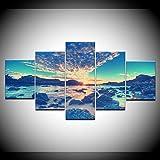 INFANDW Leinwanddruck 5 Panel Leinwand Art Sonnenuntergang-Glühen-Strand-Wellen-Meerblick für Home Wohnzimmer Büro Trendig Eingerichtet Dekoration Geschenk (Rahmenlos) 200 x 100 cm
