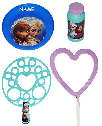 en Set  Disney die Eiskönigin - Frozen  - für kleine & XXL Seifenblasen - incl. Namen - Herzen / + Frisbee Scheibe / Wurfscheibe + Seifenblasenstä.. ()