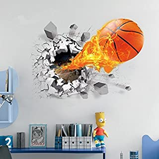 Auvs 3D self-adhesive removable break-through-the-wall vinyl wall sticker, art cecor Nter Feuer - Basketball (50cm * 70cm)