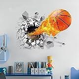 AUVS® 3D- Selbstklebende Abnehmbaren Durchbrechen Die Mauer Vinyl Wandsticker / Wandgemälde Kunst Aufkleber Dekorateur (Nter Feuer - Basketball (50cm * 70cm))