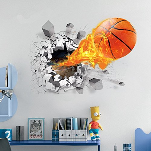 Preisvergleich Produktbild AUVS® 3D- Selbstklebende Abnehmbaren Durchbrechen Die Mauer Vinyl Wandsticker / Wandgemälde Kunst Aufkleber Dekorateur (Nter Feuer - Basketball (50cm * 70cm))