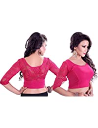 Fressia Fabrics Readymade free Size saree blouse for women party wear Stretchable