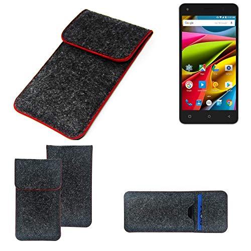 K-S-Trade® Filz Schutz Hülle Für -Archos 50b Cobalt Lite- Schutzhülle Filztasche Pouch Tasche Case Sleeve Handyhülle Filzhülle Dunkelgrau Roter Rand