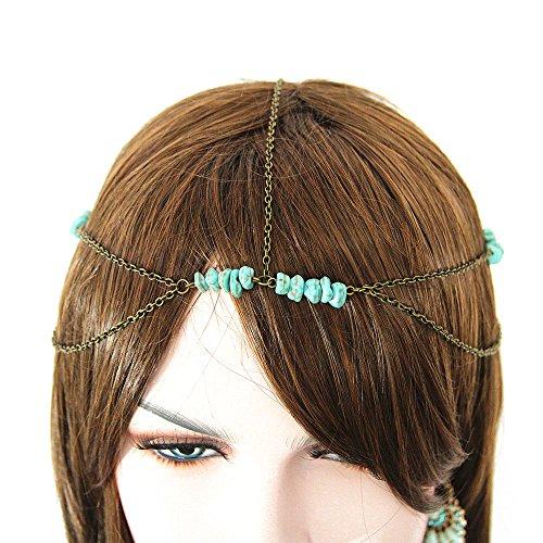 JoJo & Lin Bronze antique Perles Turquoise Bandeau Accessoires Cheveux