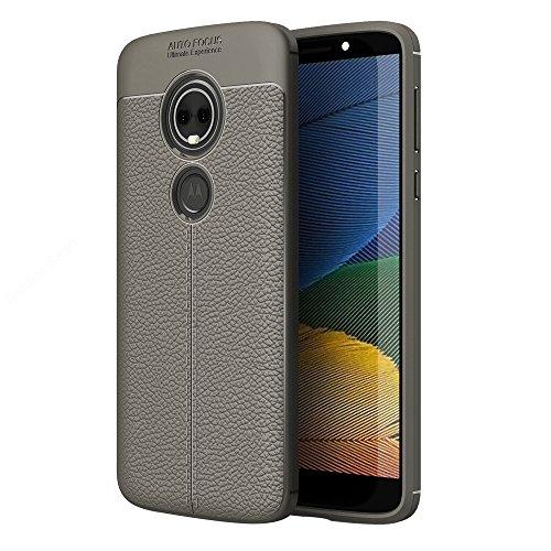 Golden Sand Premium Leather Texture Series Shockproof Armor TPU Back Cover Case for Motorola Moto E5+ Plus Mobile Phone, Fine Gray