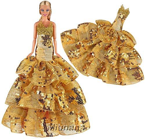 Miunana abito vestito da sposa grande per 11.5 pollici 28 - 30 cm bambola (d'oro)