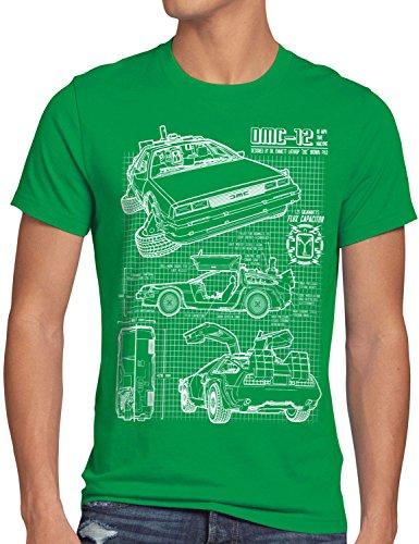style3 DMC-12 Blaupause T-Shirt Herren Zeitreise 80er McFly Blueprint Auto Car, Größe:XXL, ()
