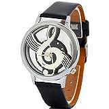 ALIKEEY Herren Chronograph Quarzwerk Hinweis Musik Notation Schwarz Uhr mit Leder Armband