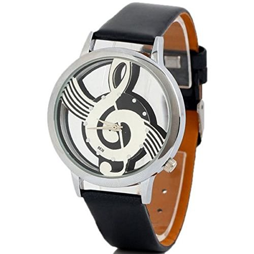 MYONA Herren Damen Unisex Analog Quarz Uhr   Persönlichkeit Musikalisches Symbol Herren Lederuhr   Kalender Einfach Mode Kleid Uhr (Schwarz) (Musikalische Bewegung Uhren)