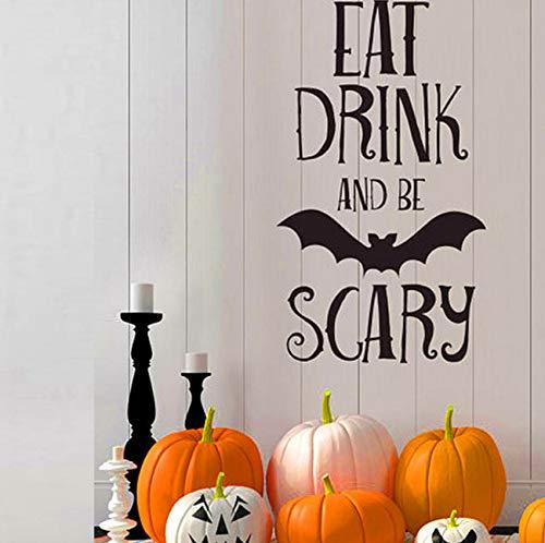 Essen Trinken Beängstigend Zitate Wandaufkleber Halloween Party Decals Home Raumdekoration Adesivo De Paredes Abnehmbare DIY (Beängstigend Musik Für Halloween)