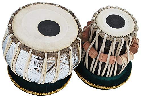 Tabla Drum Set, 4 kg schweres Kupfer Bayan, Chrom-Finish, Sheesham Wood Dayan, handgefertigte Trommelfell, Kamellederriemen zum Stimmen, kommt mit Stimmhammer, Gigbag, Kissen und Bezug - Trommel-musik Indische