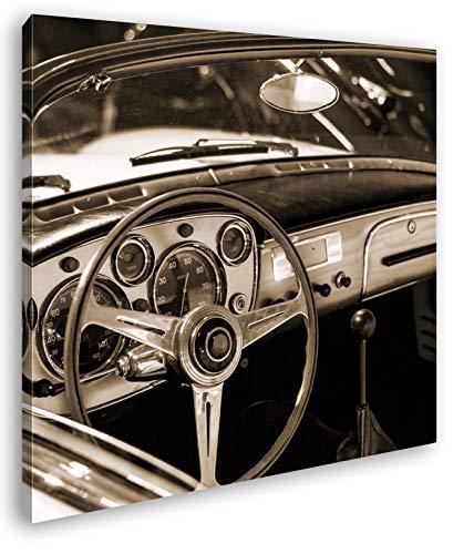 deyoli Glänzender Oldtimer Format: 70x70 Effekt: Sepia als Leinwandbild, Motiv fertig gerahmt auf Echtholzrahmen, Hochwertiger Digitaldruck mit Rahmen, Kein Poster oder Plakat