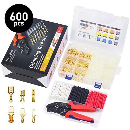 Crimpzange Flachsteckhülsen Set Crimpwerkzeug kabelschuhe set mit 600 stück Spade Kabelschuhe Flachstecker, Crimp Tool für 2.8/4.8/6.3mm Crimpklemme SOMELINE Crimpzange Set