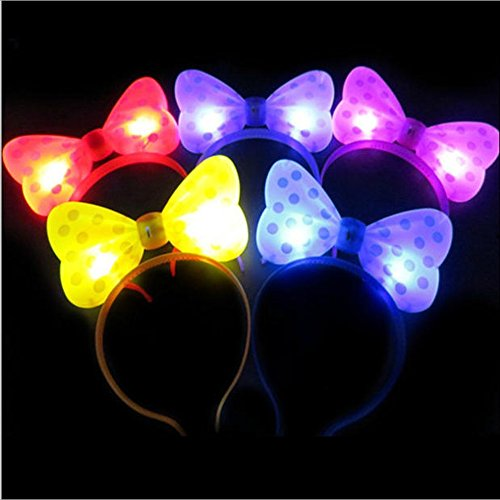 WTB Light Up Bow Ties LED blitzt blinkt Big Mickey Haar-Bogen-Haar-Band-Stirnband Halloween-Fantasie-Partei-Kugel (5pcs Mischfarbe) (Haar-bänder, Bögen)