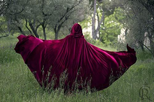 Rotkäppchen Stretch Samt Cape Kostüm Cape Fairytale Fantasie Mantel in Rot