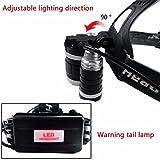 Hochleistung LED Stirnlampe,CAMTOA 5000LM LED Kopflampe Headlamp mit einstellbarem Fokus,4 Modi Helligkeiten Flashlight Kopfleuchten(Enthalten zwei 1600 mAh Batterie) für Camping Klettern Jagen - 4