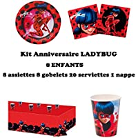 Kit anniversaire Miraculous Ladybug Complet 8 enfants (8 assiettes, 8 gobelets, 20 serviettes, 1 nappe) fête