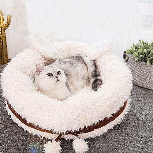 CLEAVE WAVES Hundebett für Haustiere Katzen Brown Rundmatte Comfort Deep Dish Cuddler/Katze und Hundebett Kissen für Gelenkentlastung,M