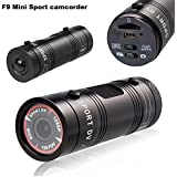 Lightdow Black: F9 Full HD 1080P 3MP AIV Mini Camcorder Small Aluminum Sport Action Recorder Helmet Camera DV DVR Sport Extreme Sport Camcorder