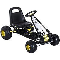 HOMCOM Go Kart Coche de Pedales Racing Deportivo con Asiento Ajustable Embrague y Freno 95x66.5x57cm Blanco y Negro
