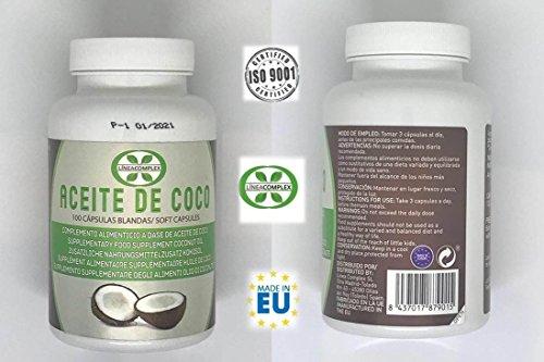 Capsulas de aceite de coco ayuda a reducir el hambre y la ansiedad por comer – aceite de coco para lucir tu piel, pelo y uñas fuertes y sano – 100 capsulas de aceite de coco LINEA COMPLEX