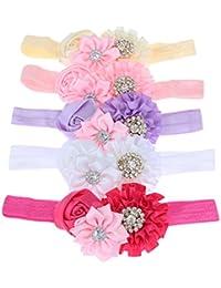 BESTVECH Baby Girl's Detachable Elastic Rhinestone Flower Headband Hair Accessory -5 Pieces