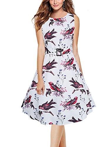 Feoya 50s Retro Vintage Kleid Damen Ärmellos Festliche Kleider Rockabilly Kleid Vogel Druck Partykleid Abendkleider Cocktailkleider Knielang Weiß