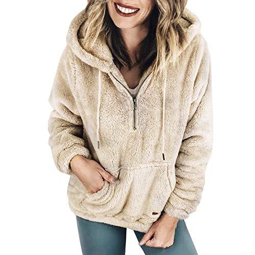 MYG Kapuzenpullover Lang Teddy Hoodie Frauen Kapuzenpulli Winter Warme Pullover Blusen Teddy-Fleece Pullover mit Reißverschluss Taschen(KhakiEU:34/CN-S) ()