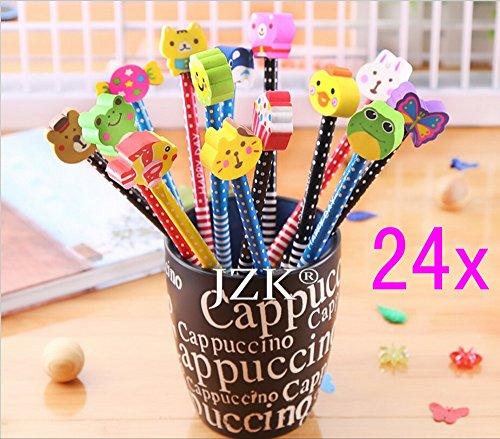 JZK® Set 24 matita in legno con gomma matite grafite colorate con gomme, bomboniera regalino per bambini festa compleanno battesimo comunione, pignatta per sacchetti festa, regalo compleanno / regalo Natale per bambina bambino