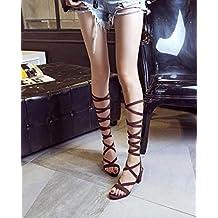 Mujeres abiertas Toe Pump estilo romano de encaje de cuero sandalias de flechas de tacón alto de las botas cruzadas con correa 33-43 , brown , 39