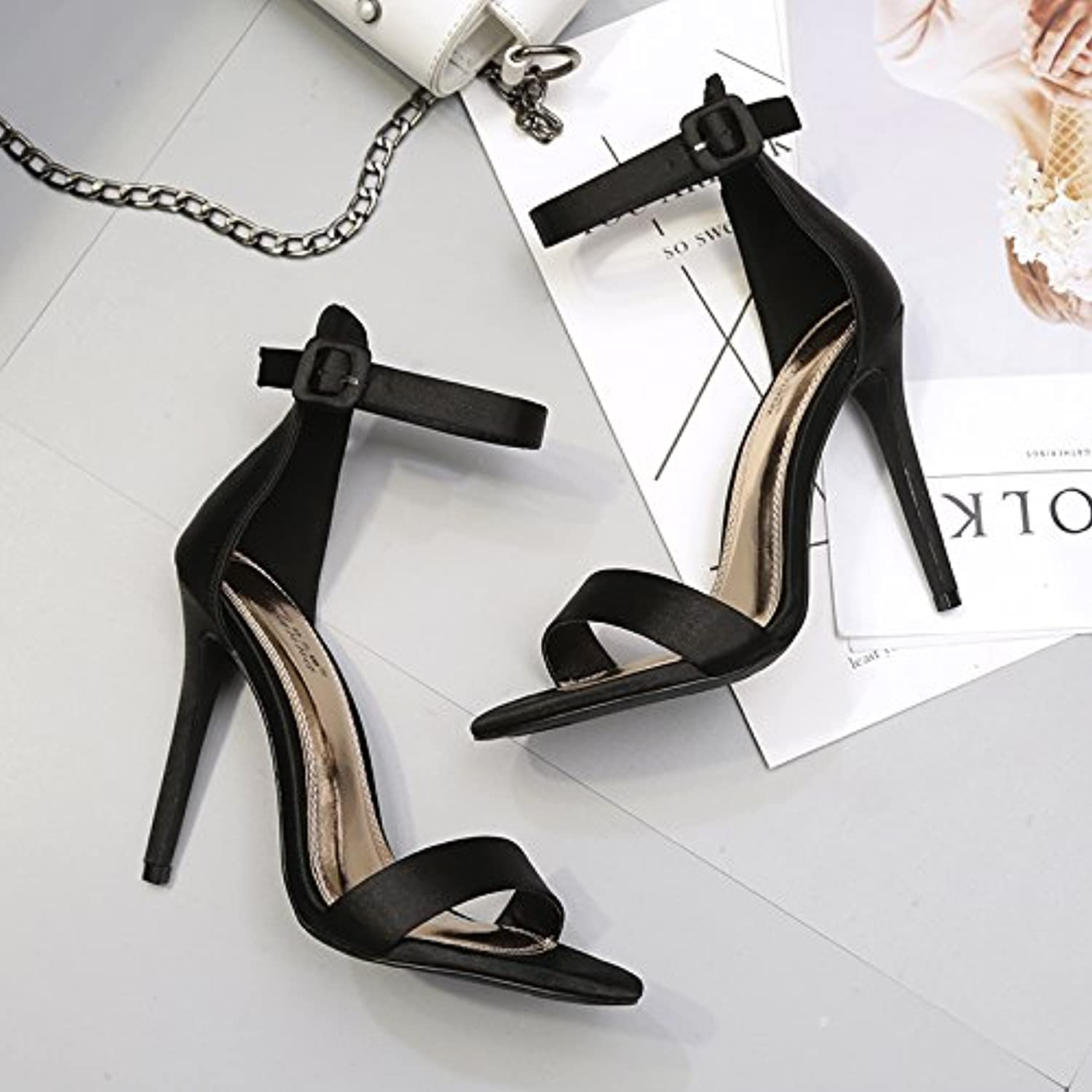 SHOESHAOGE High Heel Sandals Night Wear Buckle Princess Satin Shoes Fine Heel 10Cm Sandalen Für Damen