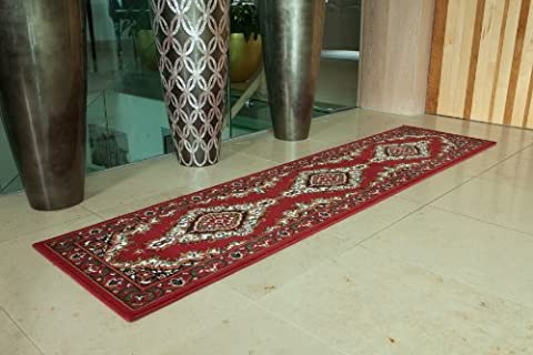 Traditional Red Medallion Runner Rug 80cm x 320cm (2ft 7
