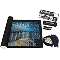 Becko Jigsaw Puzzle Roll-up Mat Puzzle Storage Felt Mat for up to 1,500 Pieces, Environmentally Friendly Materials, for Jigsaw Puzzle Players, with Drawstring Storage Bag & 4 Sorting Pouches