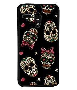 PrintVisa Cute Skull Doodles High Gloss Designer Back Case Cover for Motorola Moto G :: Motorola Moto G (1st Gen) :: Motorola Moto G Dual
