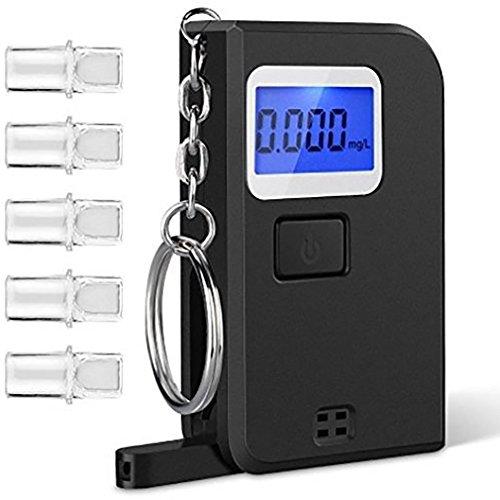 UxradG Tragbarer Alkohol-Tester, Polizei-Genauigkeit, Digitaler Alkohol-Atem-Analysator, Detektor mit Schlüsselring