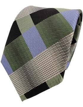 TigerTie Designer Cravatta in seta - verde blu nero a scacchi - Cravatta in seta Silk