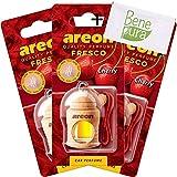 AREON Auto Lufterfrischer Parfüm Fresko 4 ml - Kirsche-Duft - Hängende Flasche Diffusor mit Echtholzdeckel, langlebig, Set von 3